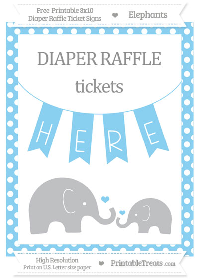 Free Baby Blue Polka Dot Elephant 8x10 Diaper Raffle Ticket Sign