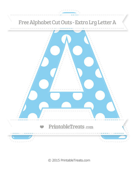 Free Baby Blue Polka Dot Extra Large Capital Letter A Cut Outs