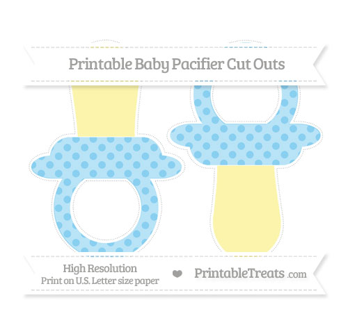 Free Baby Blue Polka Dot Large Baby Pacifier Cut Outs