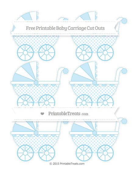Free Baby Blue Polka Dot Small Baby Carriage Cut Outs