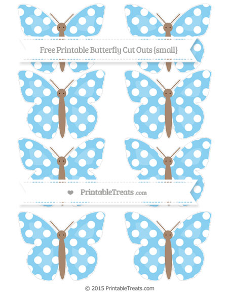 Free Baby Blue Polka Dot Small Butterfly Cut Outs