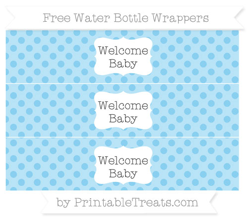 Free Baby Blue Polka Dot Welcome Baby Water Bottle Wrappers
