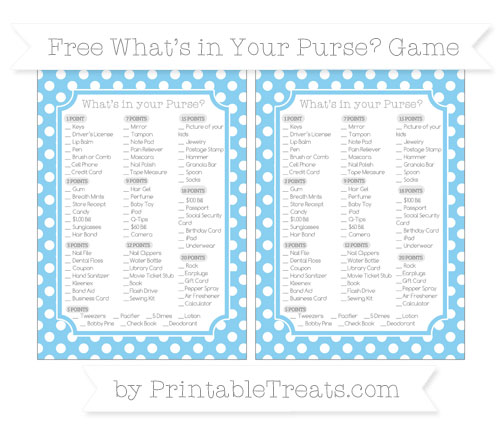 Free Baby Blue Polka Dot What's in Your Purse Baby Shower Game