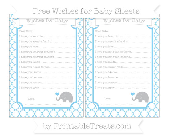 Free Baby Blue Quatrefoil Pattern Baby Elephant Wishes for Baby Sheets