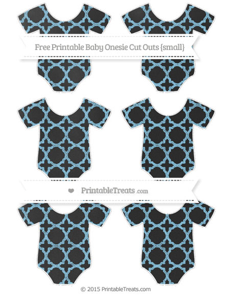 Free Baby Blue Quatrefoil Pattern Chalk Style Small Baby Onesie Cut Outs