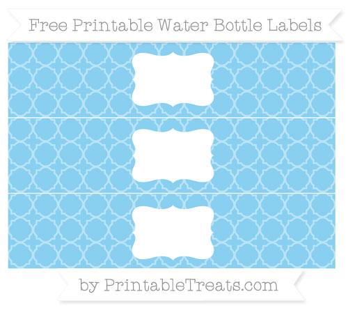 Free Baby Blue Quatrefoil Pattern Water Bottle Labels