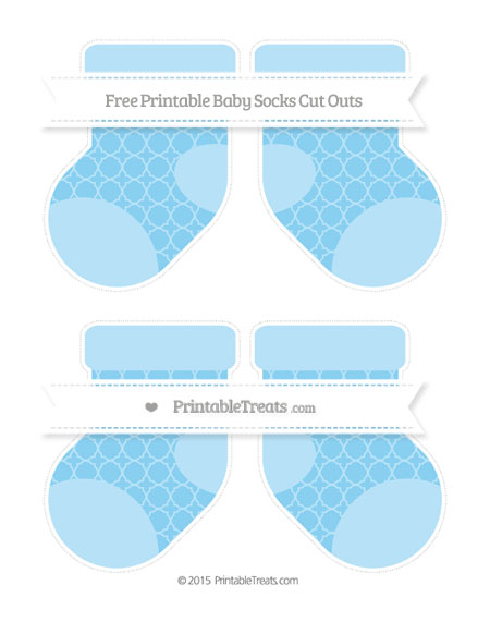 Free Baby Blue Quatrefoil Pattern Medium Baby Socks Cut Outs