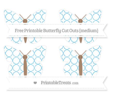 Free Baby Blue Quatrefoil Pattern Medium Butterfly Cut Outs