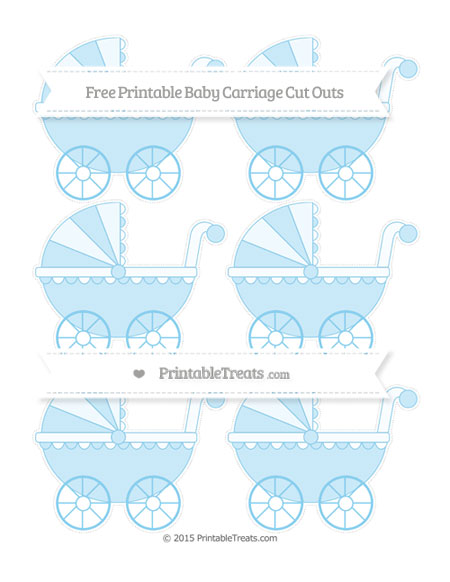Free Baby Blue Small Baby Carriage Cut Outs