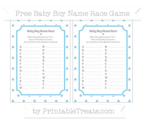Free Baby Blue Star Pattern Baby Boy Name Race Game