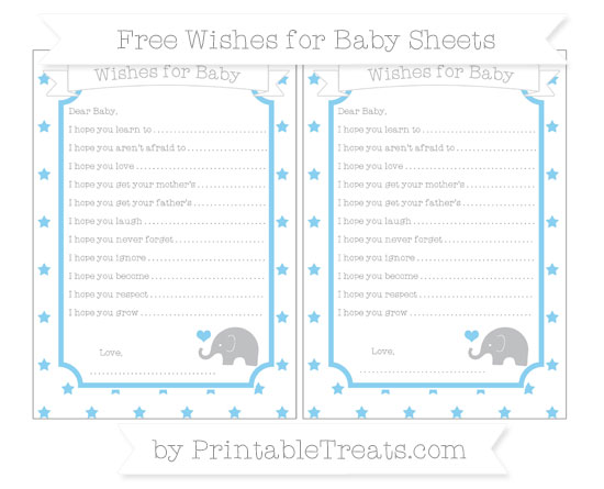 Free Baby Blue Star Pattern Baby Elephant Wishes for Baby Sheets
