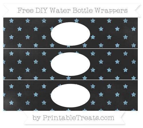 Free Baby Blue Star Pattern Chalk Style DIY Water Bottle Wrappers
