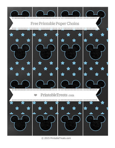 Free Baby Blue Star Pattern Chalk Style Mickey Mouse Paper Chains