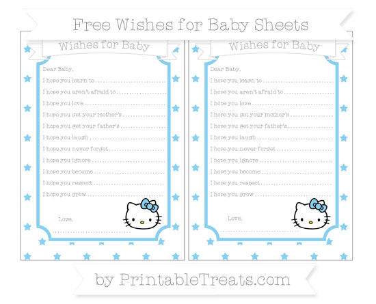 Free Baby Blue Star Pattern Hello Kitty Wishes for Baby Sheets