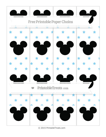Free Baby Blue Star Pattern Mickey Mouse Paper Chains