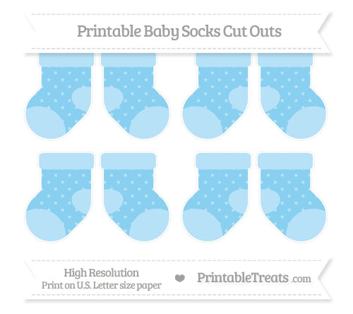 Free Baby Blue Star Pattern Small Baby Socks Cut Outs