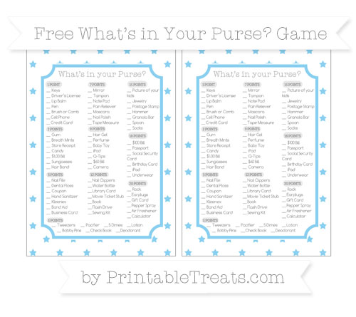 Free Baby Blue Star Pattern What's in Your Purse Baby Shower Game