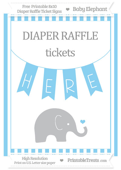 Free Baby Blue Striped Baby Elephant 8x10 Diaper Raffle Ticket Sign
