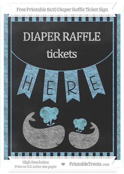 Free Baby Blue Striped Chalk Style Baby Whale 8x10 Diaper Raffle Ticket Sign