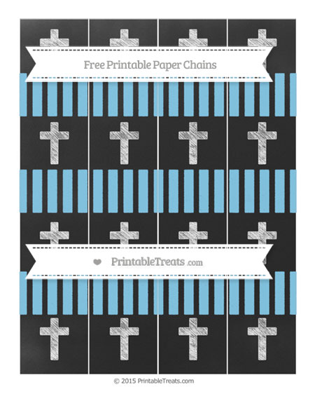 Free Baby Blue Striped Chalk Style Cross Paper Chains