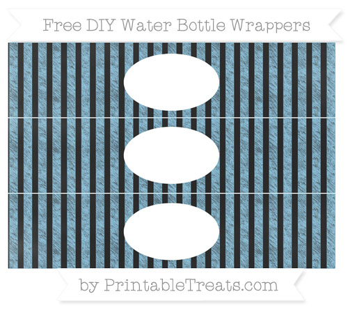 Free Baby Blue Striped Chalk Style DIY Water Bottle Wrappers