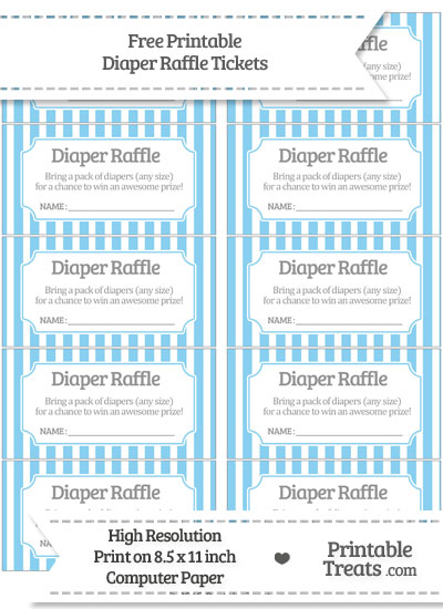 Free Baby Blue Striped Diaper Raffle Tickets