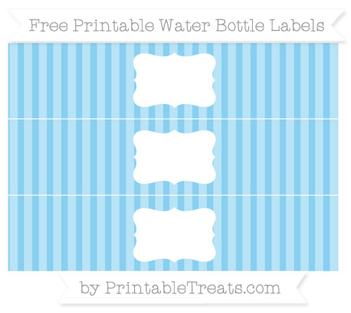 Free Baby Blue Striped Water Bottle Labels