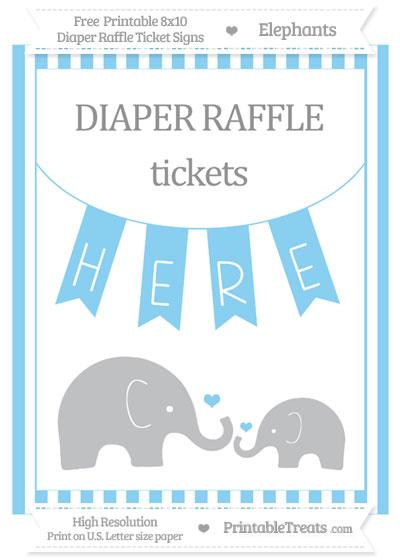 Free Baby Blue Striped Elephant 8x10 Diaper Raffle Ticket Sign