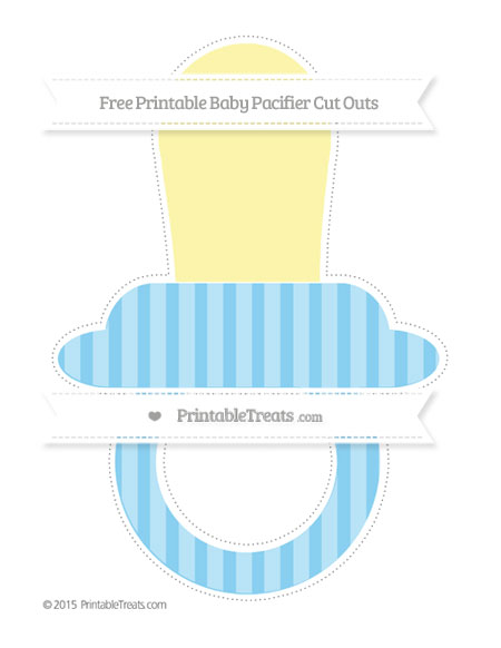 Free Baby Blue Striped Extra Large Baby Pacifier Cut Outs