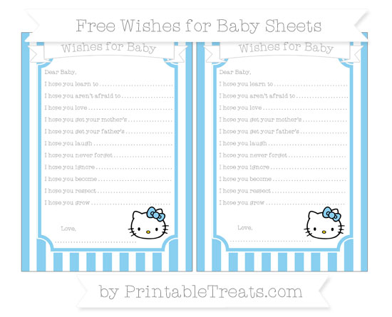 Free Baby Blue Striped Hello Kitty Wishes for Baby Sheets