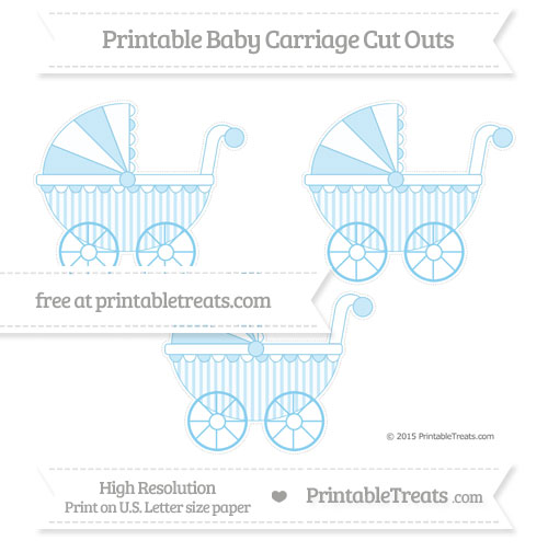 Free Baby Blue Striped Medium Baby Carriage Cut Outs