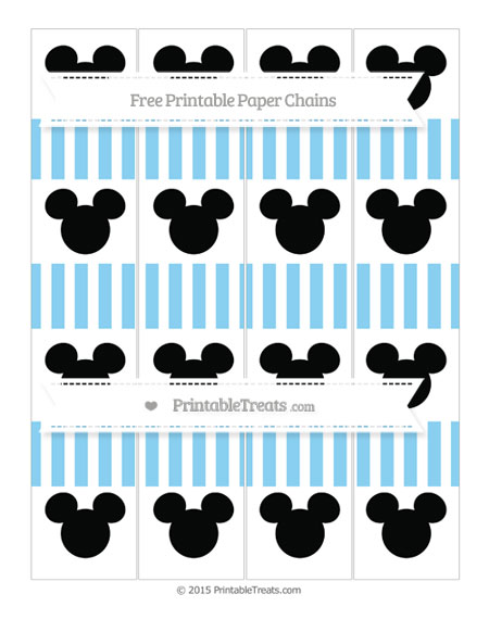 Free Baby Blue Striped Mickey Mouse Paper Chains