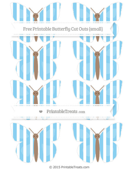Free Baby Blue Striped Small Butterfly Cut Outs