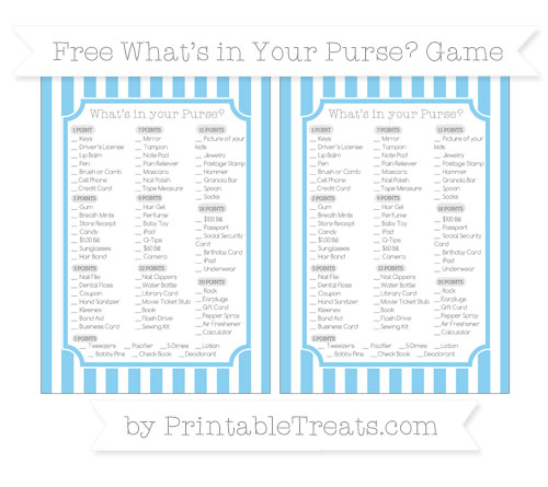 Free Baby Blue Striped What's in Your Purse Baby Shower Game