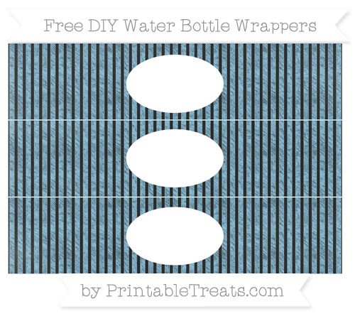 Free Baby Blue Thin Striped Pattern Chalk Style DIY Water Bottle Wrappers