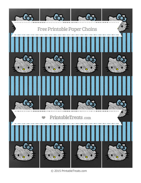Free Baby Blue Thin Striped Pattern Chalk Style Hello Kitty Paper Chains