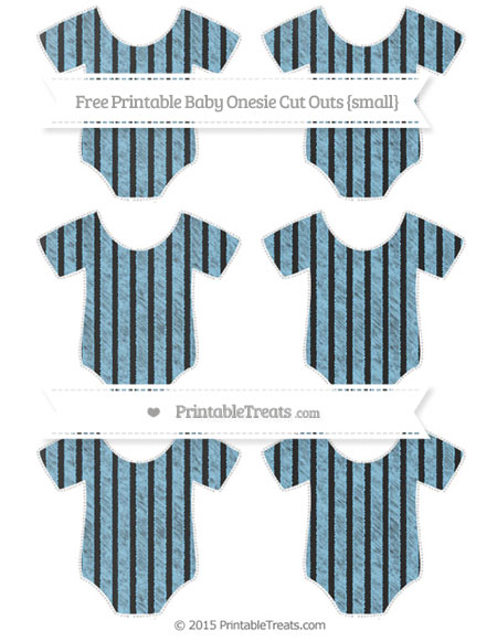 Free Baby Blue Thin Striped Pattern Chalk Style Small Baby Onesie Cut Outs