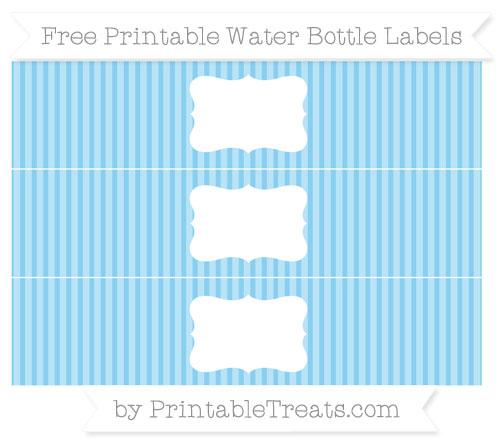 Free Baby Blue Thin Striped Pattern Water Bottle Labels