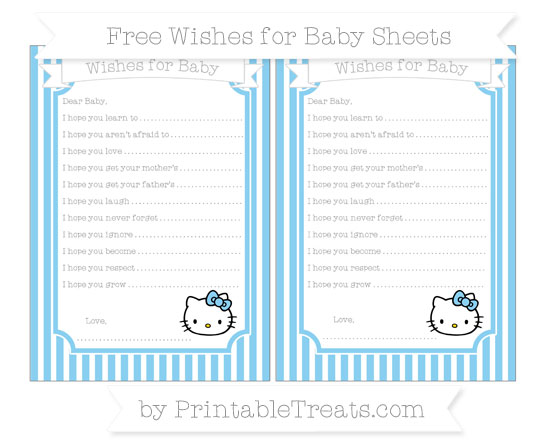Free Baby Blue Thin Striped Pattern Hello Kitty Wishes for Baby Sheets