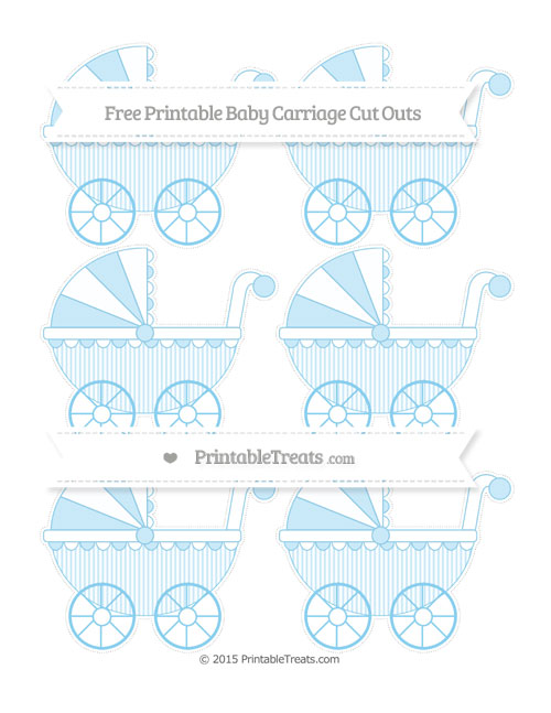 Free Baby Blue Thin Striped Pattern Small Baby Carriage Cut Outs