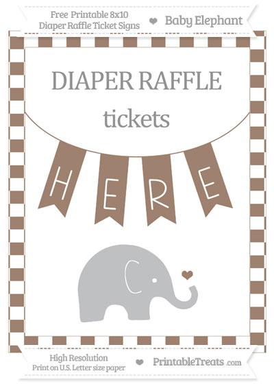 Free Beaver Brown Checker Pattern Baby Elephant 8x10 Diaper Raffle Ticket Sign