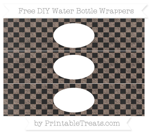 Free Beaver Brown Checker Pattern Chalk Style DIY Water Bottle Wrappers