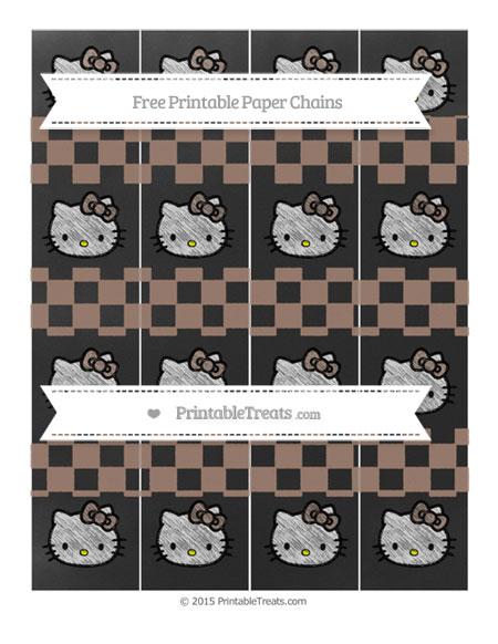 Free Beaver Brown Checker Pattern Chalk Style Hello Kitty Paper Chains