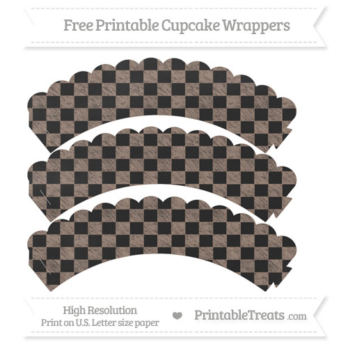 Free Beaver Brown Checker Pattern Chalk Style Scalloped Cupcake Wrappers