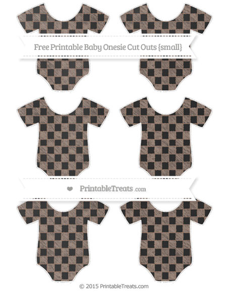 Free Beaver Brown Checker Pattern Chalk Style Small Baby Onesie Cut Outs