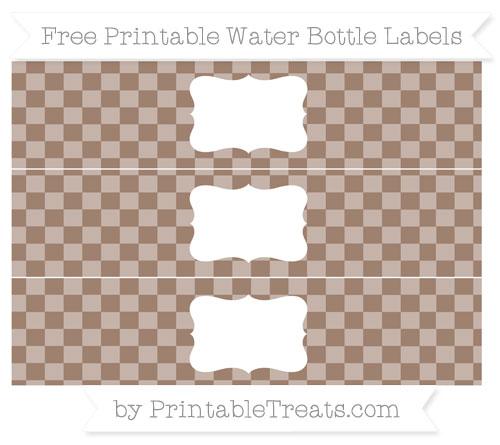 Free Beaver Brown Checker Pattern Water Bottle Labels