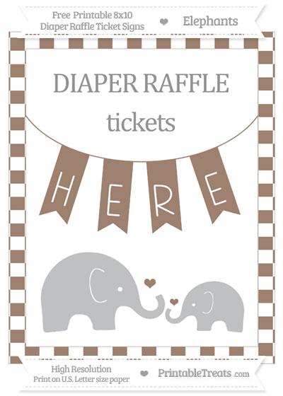 Free Beaver Brown Checker Pattern Elephant 8x10 Diaper Raffle Ticket Sign