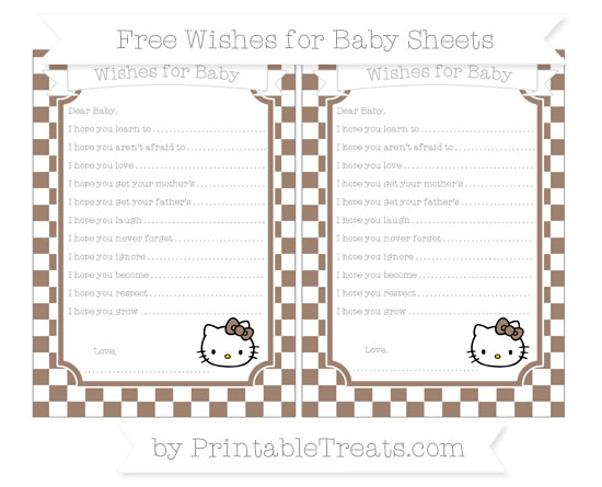 Free Beaver Brown Checker Pattern Hello Kitty Wishes for Baby Sheets