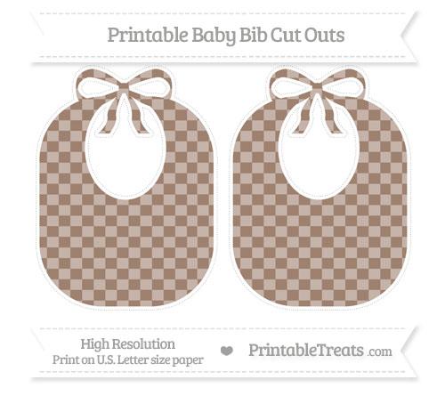 Free Beaver Brown Checker Pattern Large Baby Bib Cut Outs