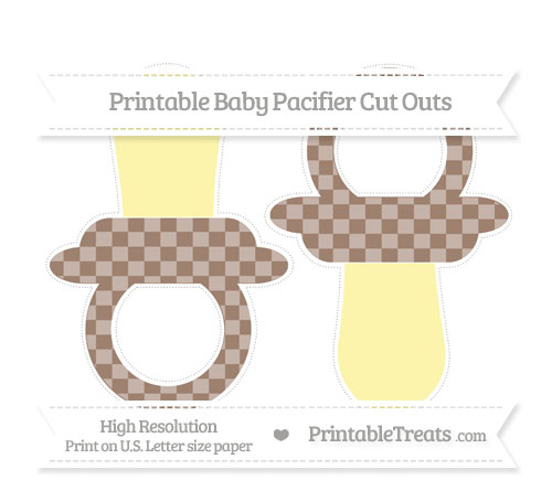 Free Beaver Brown Checker Pattern Large Baby Pacifier Cut Outs